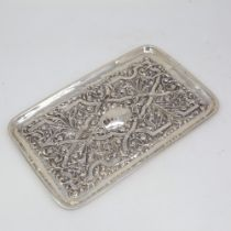 An Edwardian rectangular silver tray, allover relief embossed foliate decoration, by Williams