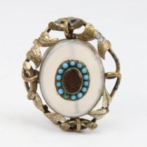 A Victorian unmarked yellow metal chalcedony turquoise and hair panel mourning brooch, floral