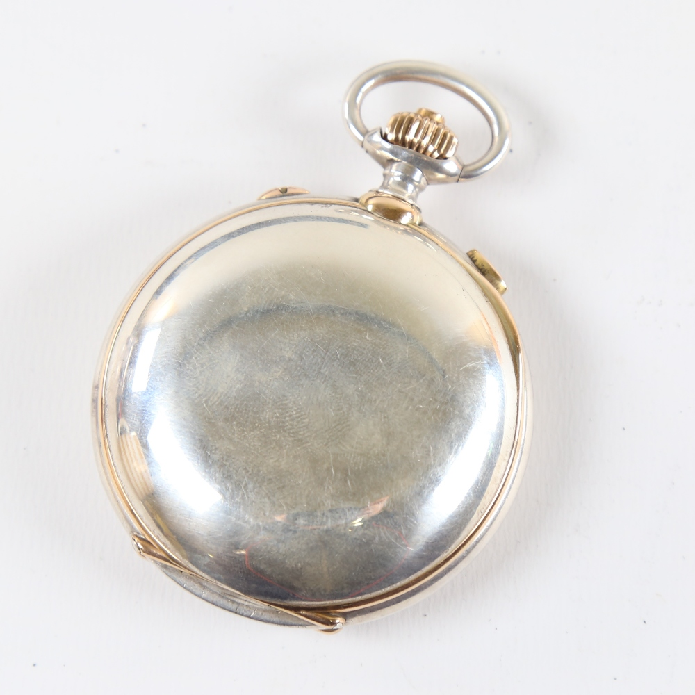 A 19th century Swiss silver and yellow metal open-face top-wind Doctor's chronograph pocket watch, - Image 2 of 5