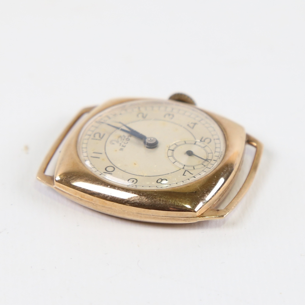 RECORD - a Vintage 9ct gold mechanical wristwatch head, silvered dial with Arabic numerals and - Image 3 of 5