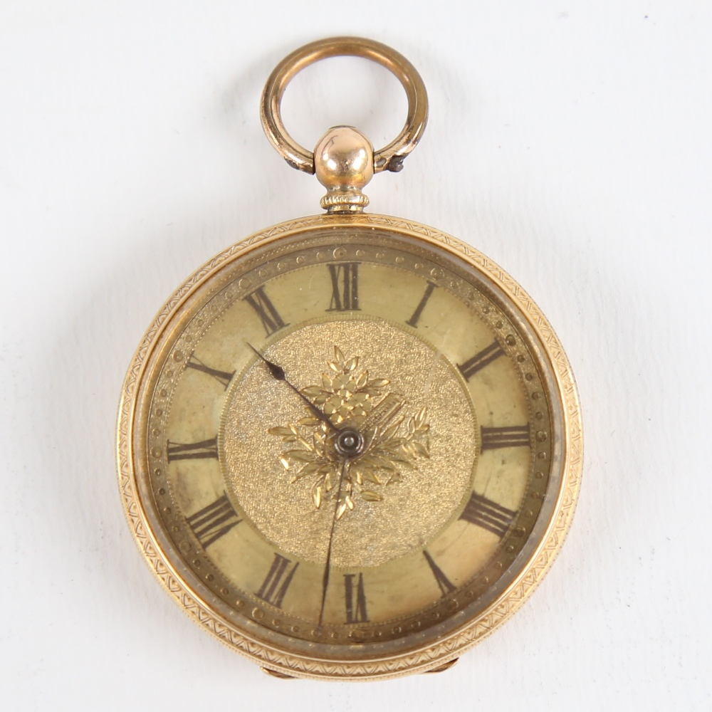 A Swiss 18ct gold open-face keywind pocket watch, by Hallett of Hastings, floral engraved and