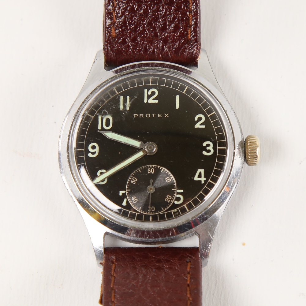 PROTEX - a Second World War Period stainless steel German Army mechanical wristwatch, ref. 497,
