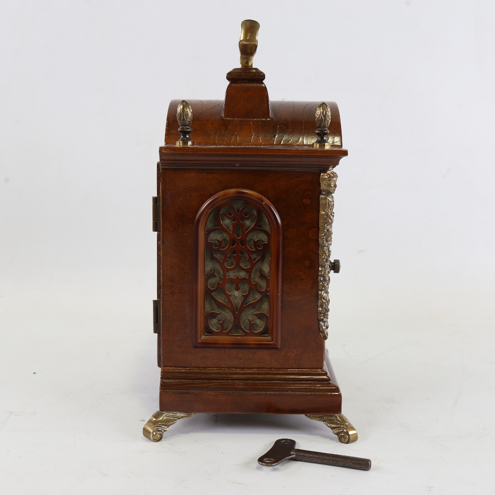 A Georgian style reproduction walnut-cased 8-day dome-top bracket clock, by Warmink Wuba, brass - Image 5 of 5