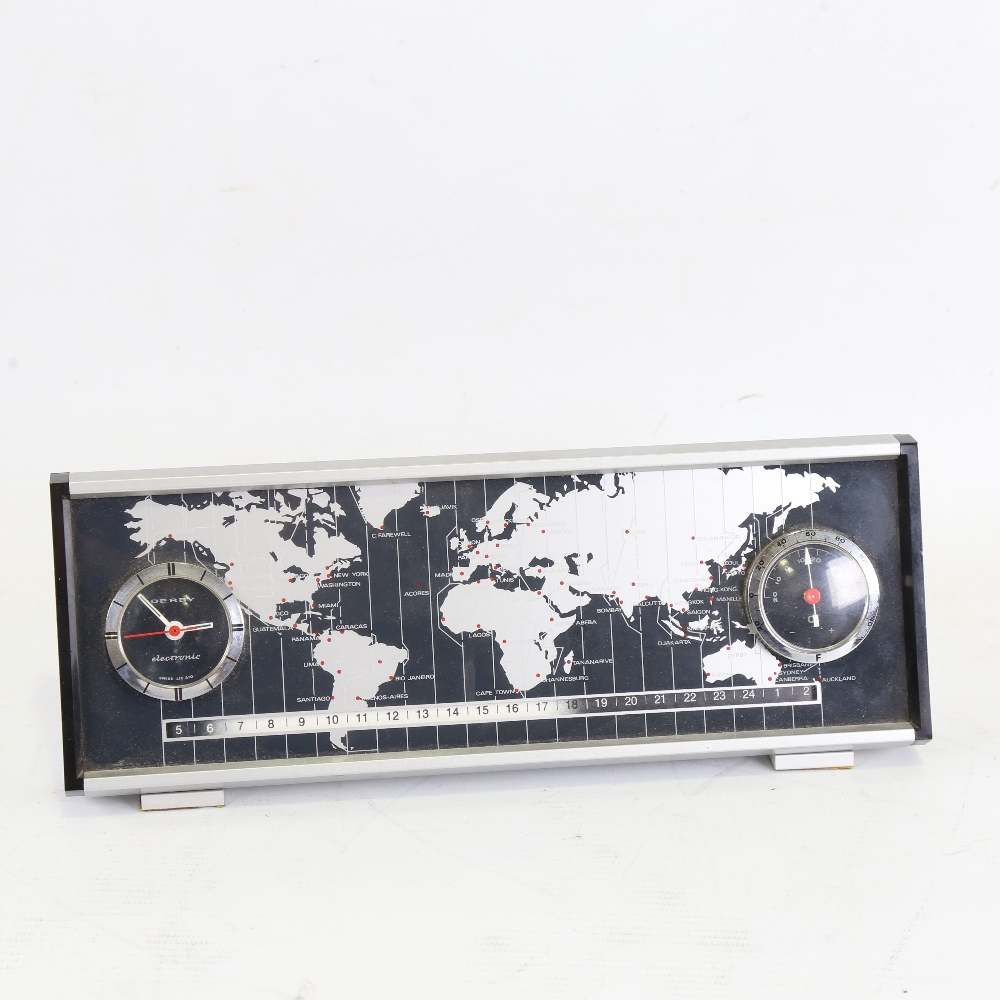 DERBY - a Vintage electronic world timer DC 2969 desk clock, with world timer tape, analogue clock
