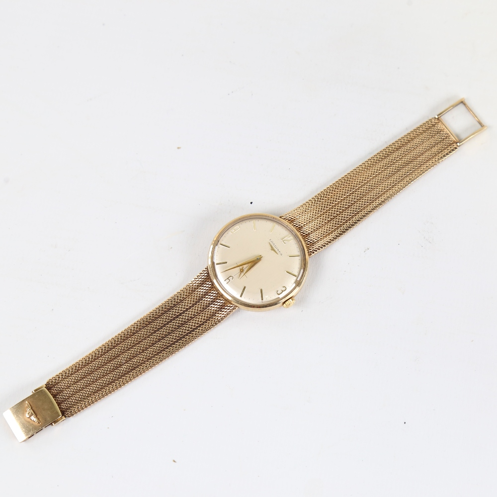 LONGINES - a Vintage 9ct gold mechanical wristwatch, circa 1966, silvered dial with quarterly gilt - Image 2 of 5