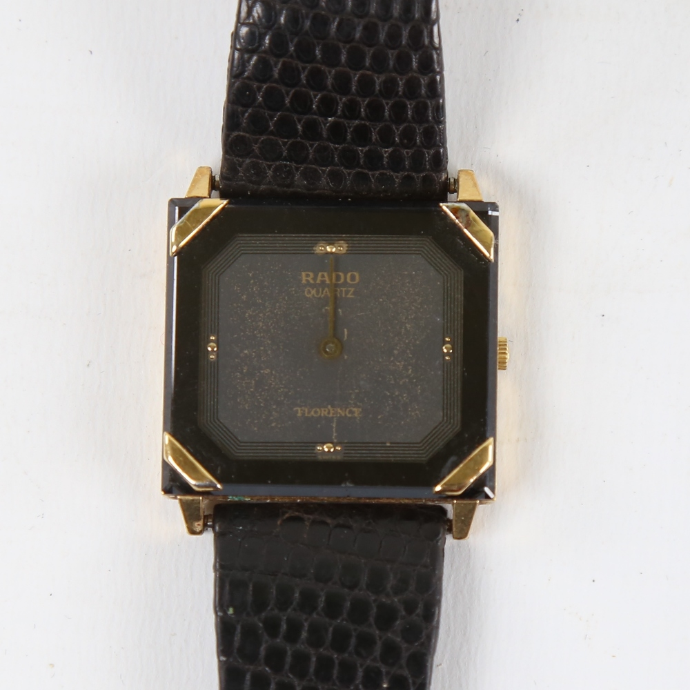 RADO - a gold plated stainless steel Florence quartz wristwatch, ref. 121.3365.2, square black
