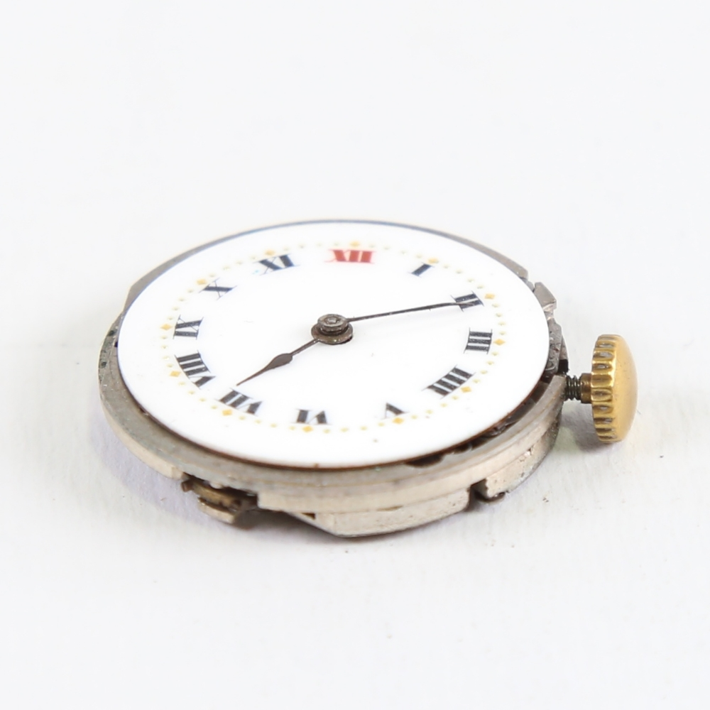 ROLEX - a Vintage wristwatch movement, white enamel dial with hand painted Roman numeral hour - Image 3 of 5