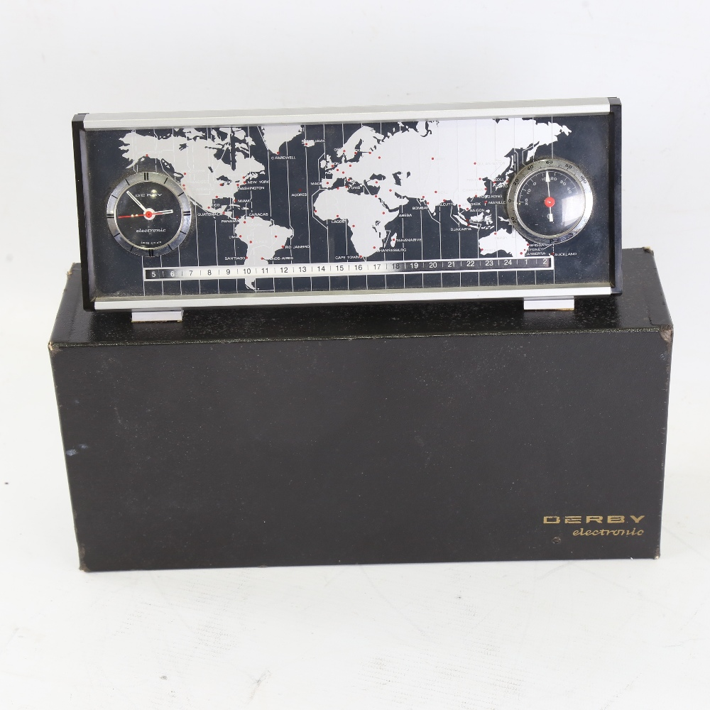 DERBY - a Vintage electronic world timer DC 2969 desk clock, with world timer tape, analogue clock - Image 3 of 5