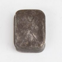 A George III silver vinaigrette, curved cushion form with bright-cut engraved decoration, gilt