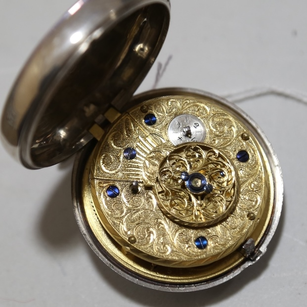An 18th century silver pair-cased open-face keywind Verge pocket watch, white enamel dial with - Image 15 of 19