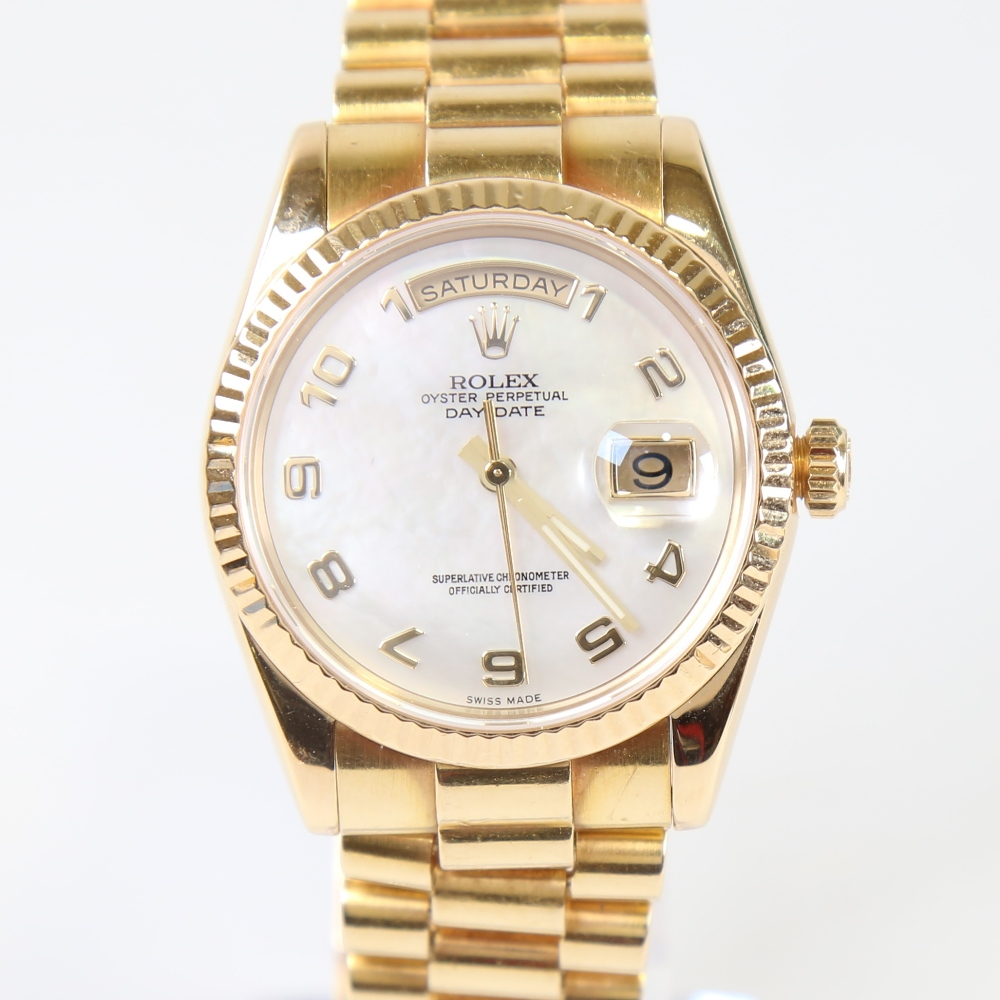 ROLEX - an 18ct gold Oyster Perpetual Day-Date automatic wristwatch, ref. 118238, circa 2001,
