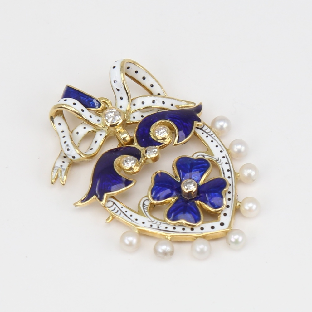 An Antique pearl diamond and enamel shield pendant, unmarked gold settings with four leaf clover - Image 3 of 5