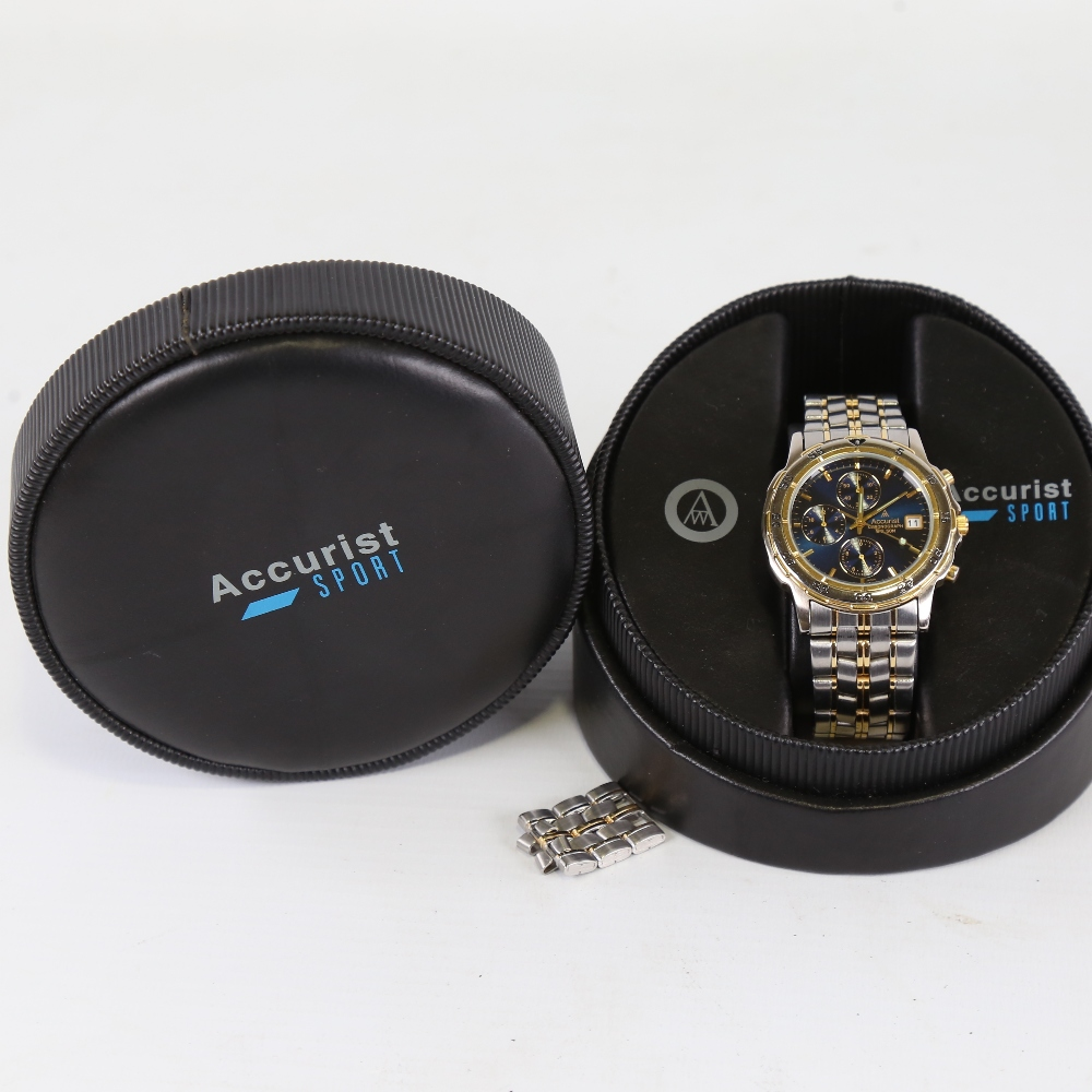 ACCURIST - a gold plated and stainless steel WR50M quartz chronograph wristwatch, ref SR927W, blue - Image 5 of 5