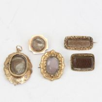 5 pieces of Antique mourning jewellery, comprising 4 brooches and 1 pendant, all with woven and