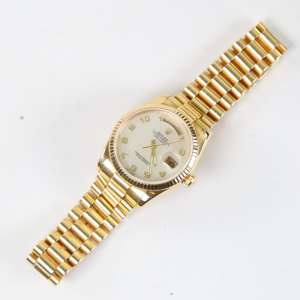 ROLEX - an 18ct gold Oyster Perpetual Day-Date automatic wristwatch, ref. 118238, circa 2001, - Image 2 of 5
