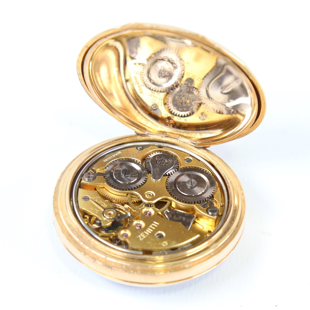 ZENITH - a First World War Period gold plated open-face top-wind alarm pocket watch, black dial with - Image 4 of 5