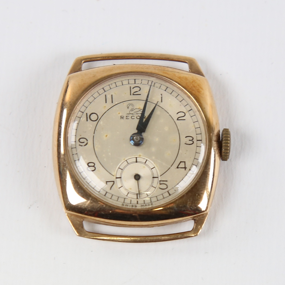 RECORD - a Vintage 9ct gold mechanical wristwatch head, silvered dial with Arabic numerals and