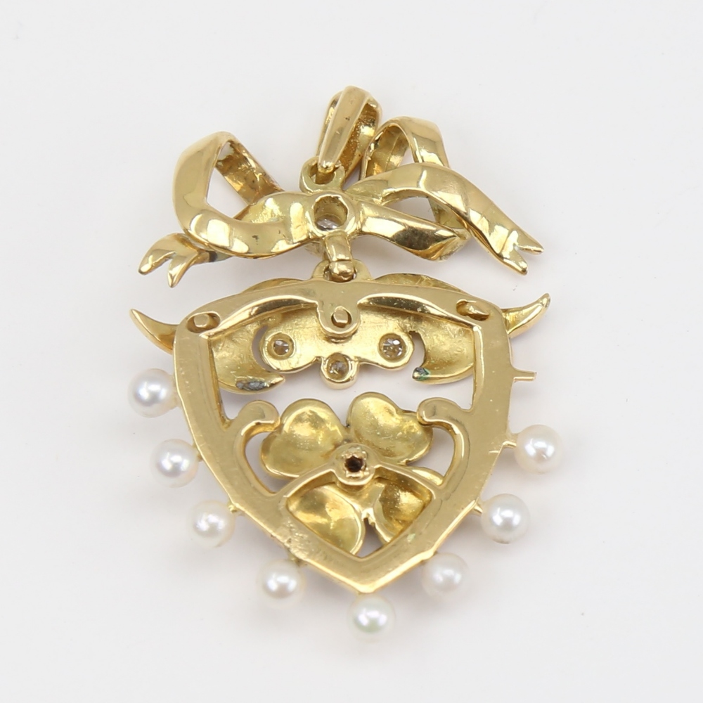An Antique pearl diamond and enamel shield pendant, unmarked gold settings with four leaf clover - Image 4 of 5
