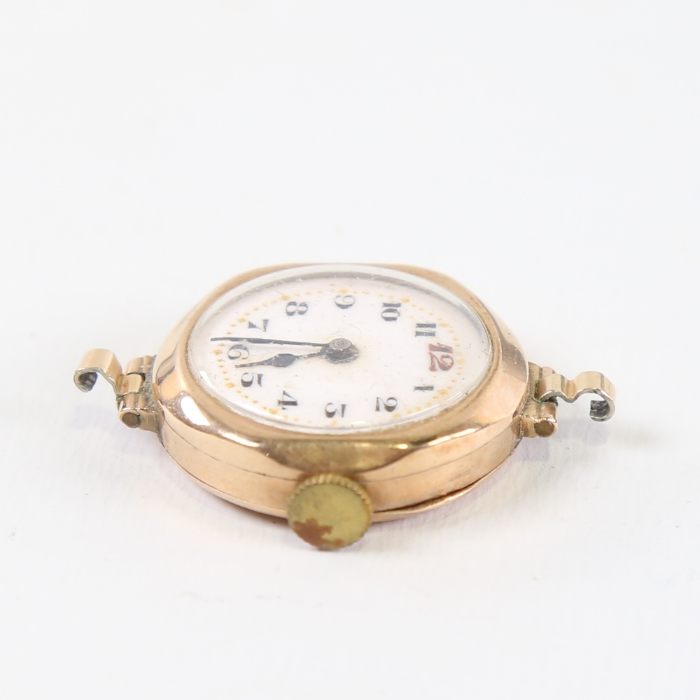 A Vintage 9ct gold mechanical wristwatch head, by Metrose Watch Co, white enamel dial with hand - Image 3 of 5
