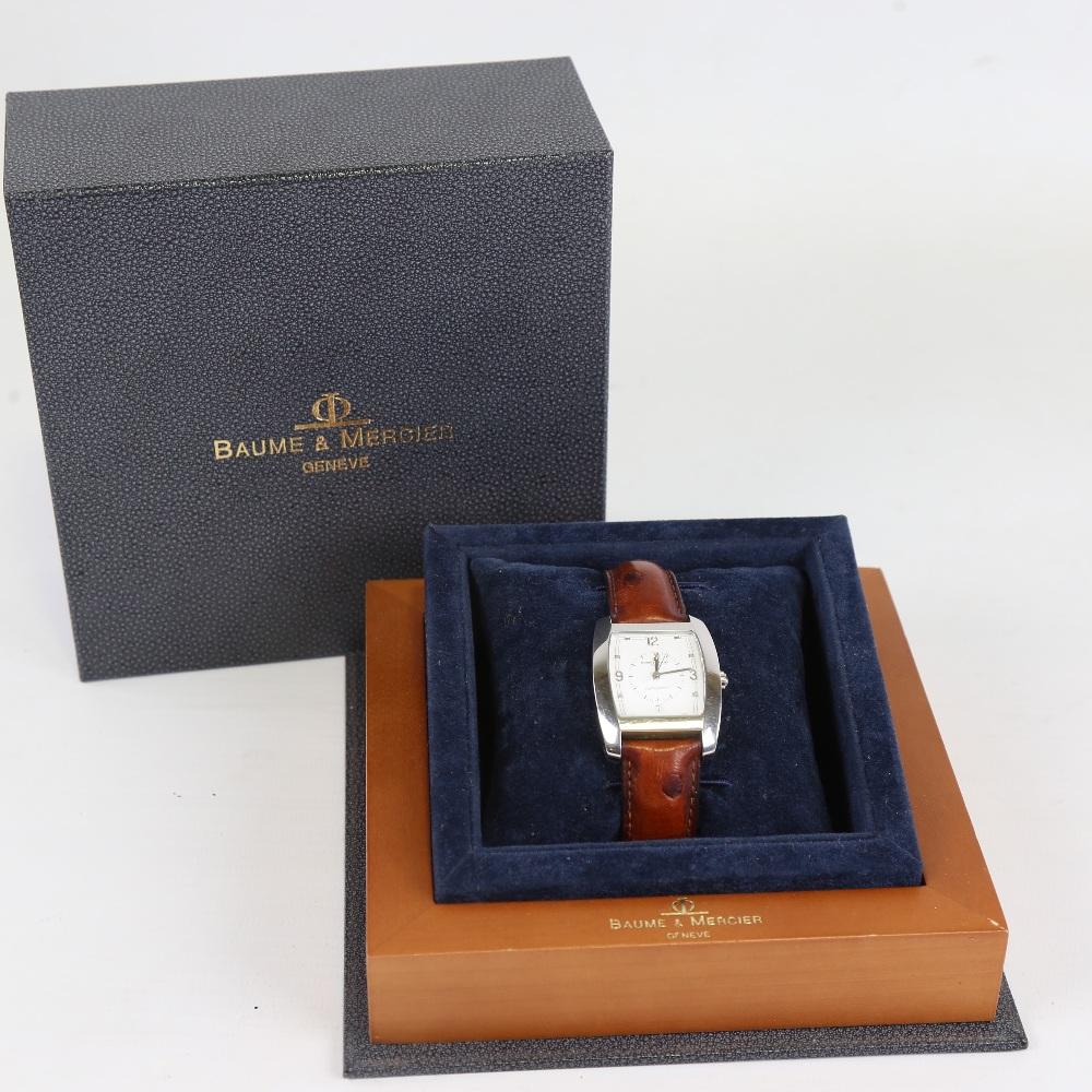 BAUME & MERCIER - a stainless steel Hampton automatic wristwatch, ref. MV045159, circa 1998, tonneau - Image 5 of 5