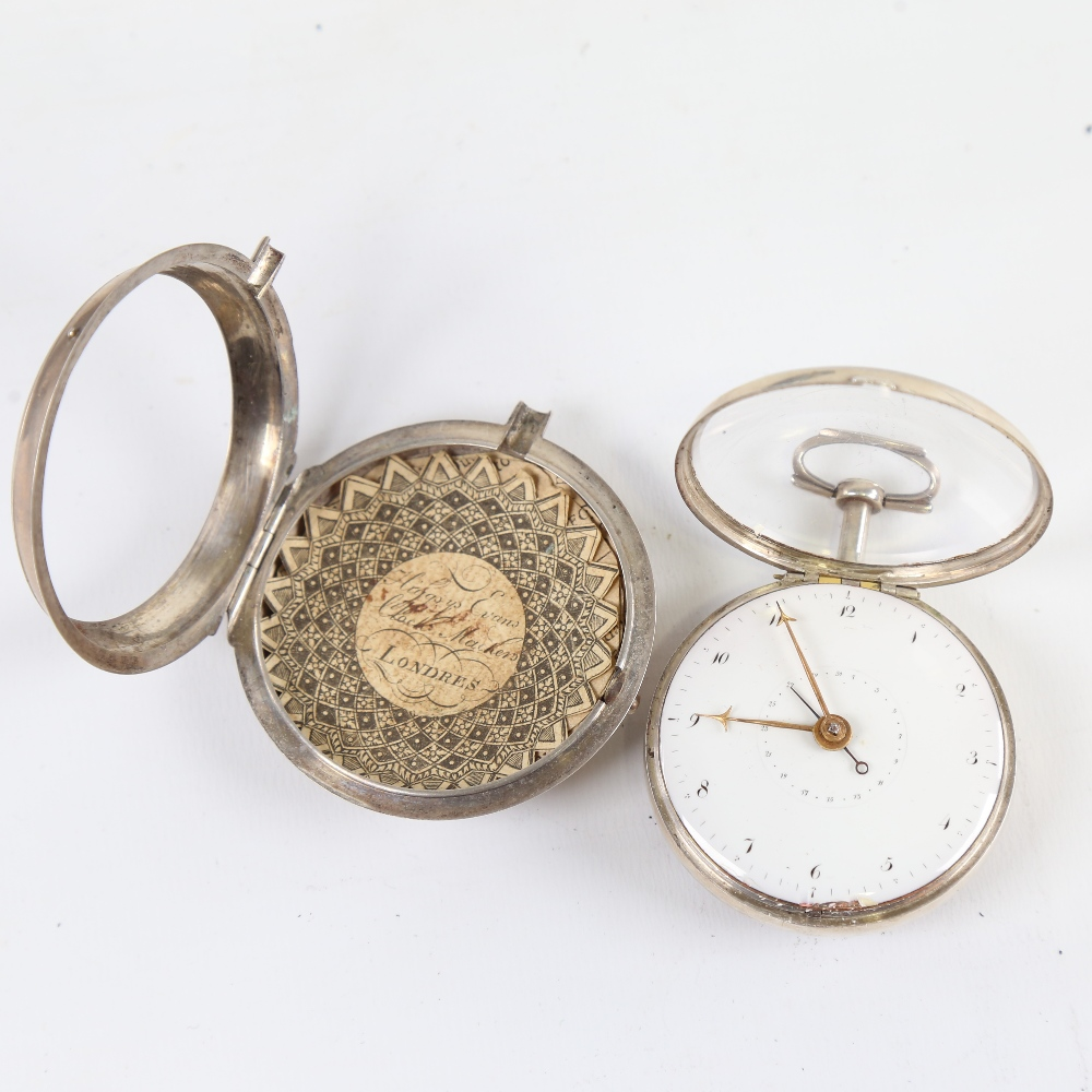An 18th century silver pair-cased open-face keywind Verge pocket watch, white enamel dial with - Image 5 of 19