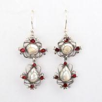 A pair of Dutch Georgian unmarked silver pearl and flat-top garnet pendant earrings, openwork scroll