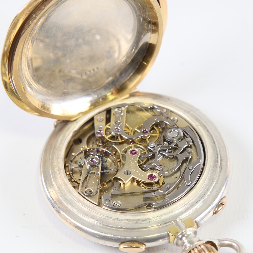 A 19th century Swiss silver and yellow metal open-face top-wind Doctor's chronograph pocket watch, - Image 5 of 5
