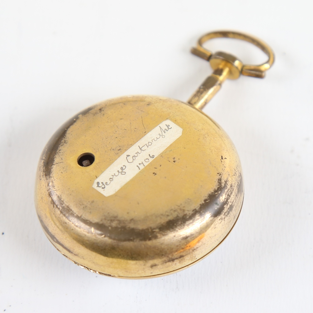 An 18th century gold plated pair-cased open-face keywind Verge pocket watch, by George Cartwright of - Image 5 of 5