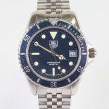 TAG HEUER - a stainless steel Professional 1000 Diver 200M quartz wristwatch, ref. 980.613B, blue