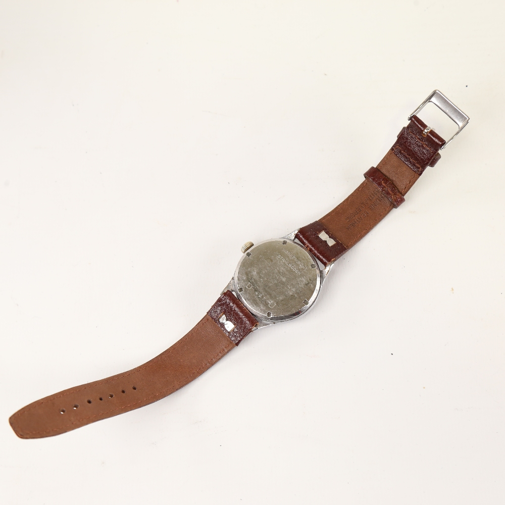 PROTEX - a Second World War Period stainless steel German Army mechanical wristwatch, ref. 497, - Image 3 of 5