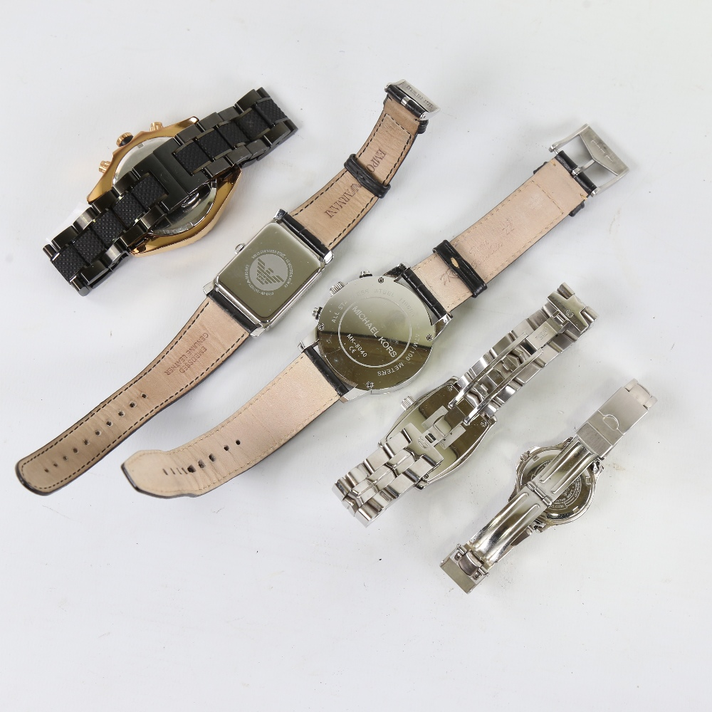 5 modern designer quartz wristwatches, including GC, Michael Kors, Guess and Emporio Armani, only - Image 3 of 5