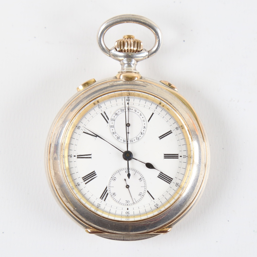 A 19th century Swiss silver and yellow metal open-face top-wind Doctor's chronograph pocket watch,