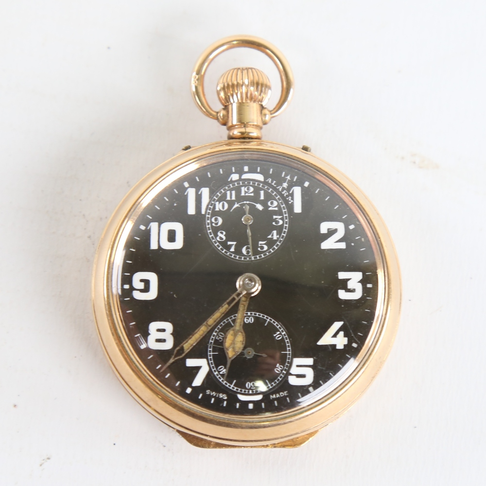 ZENITH - a First World War Period gold plated open-face top-wind alarm pocket watch, black dial with