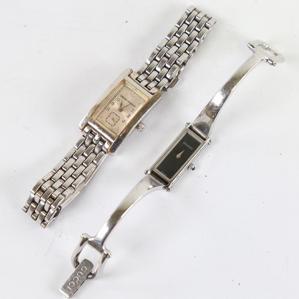 2 modern lady's stainless steel designer quartz wristwatches, comprising Gucci 1500L and Emporio - Image 2 of 5