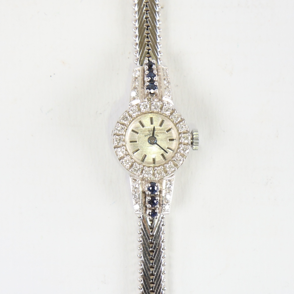 A lady's Vintage 18ct white gold diamond and sapphire mechanical cocktail wristwatch, brushed