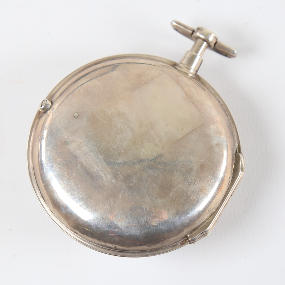 An 18th century silver pair-cased open-face keywind Verge pocket watch, white enamel dial with - Image 2 of 19