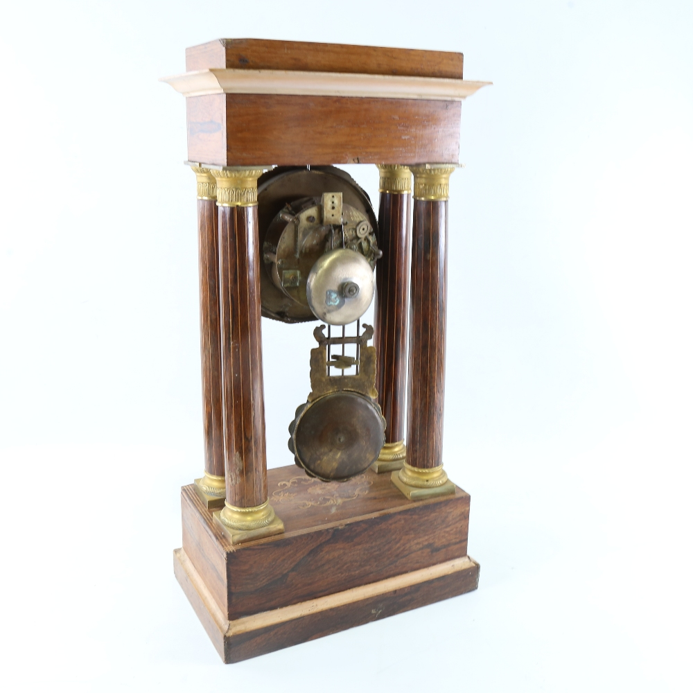 A 19th century rosewood and satinwood inlaid brass 4-pillar portico mantel clock, silvered dial with - Image 3 of 5