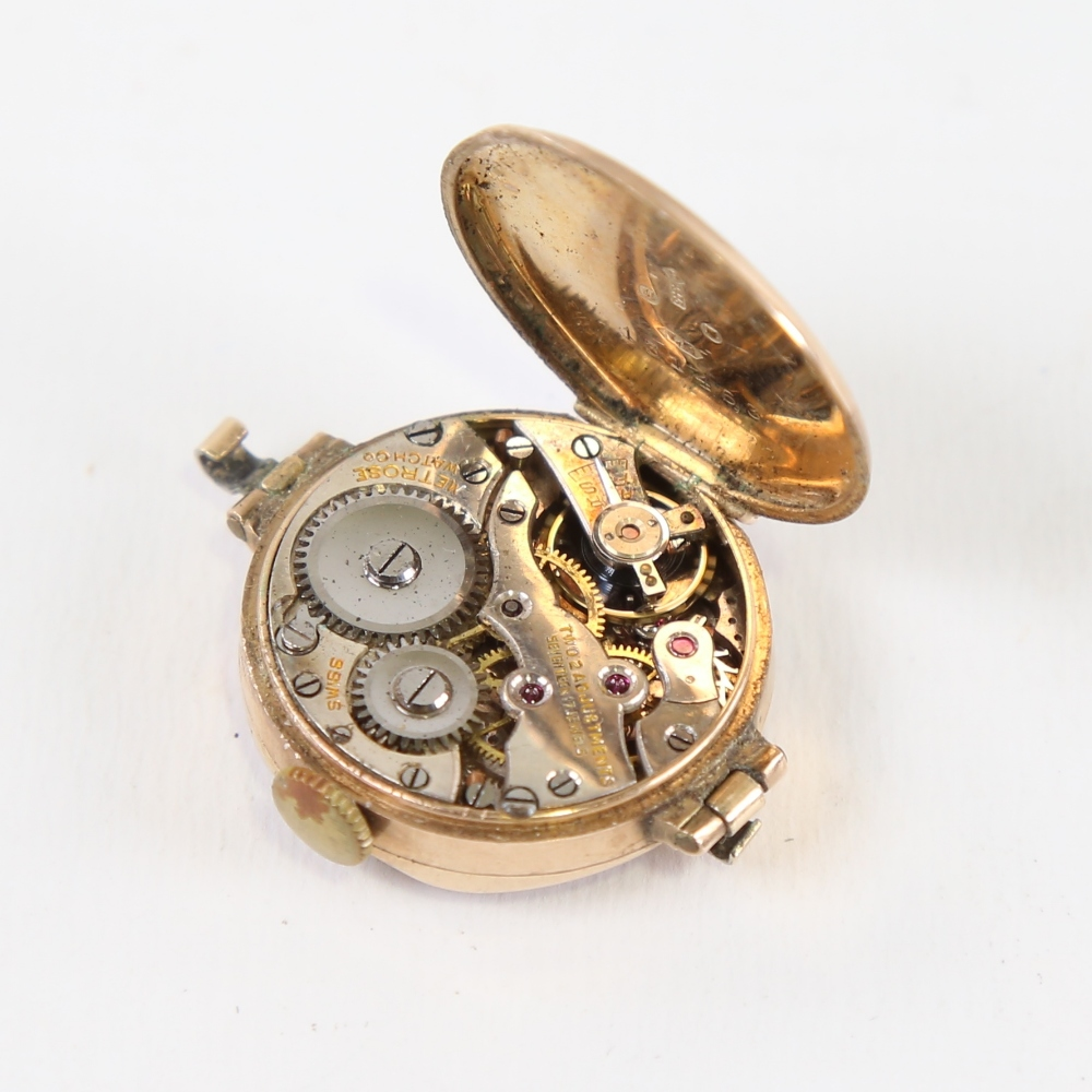 A Vintage 9ct gold mechanical wristwatch head, by Metrose Watch Co, white enamel dial with hand - Image 4 of 5