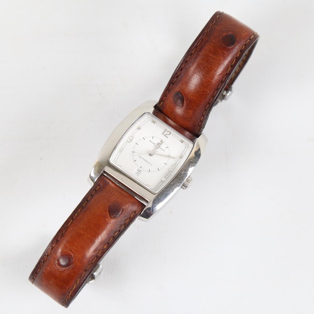 BAUME & MERCIER - a stainless steel Hampton automatic wristwatch, ref. MV045159, circa 1998, tonneau - Image 2 of 5