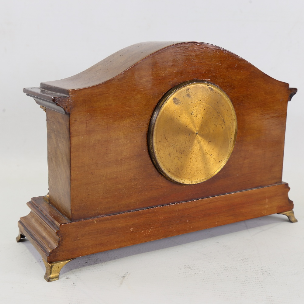 A French inlaid mahogany dome-top mantel clock, white enamel dial with Roman numeral hour markers, - Image 3 of 5