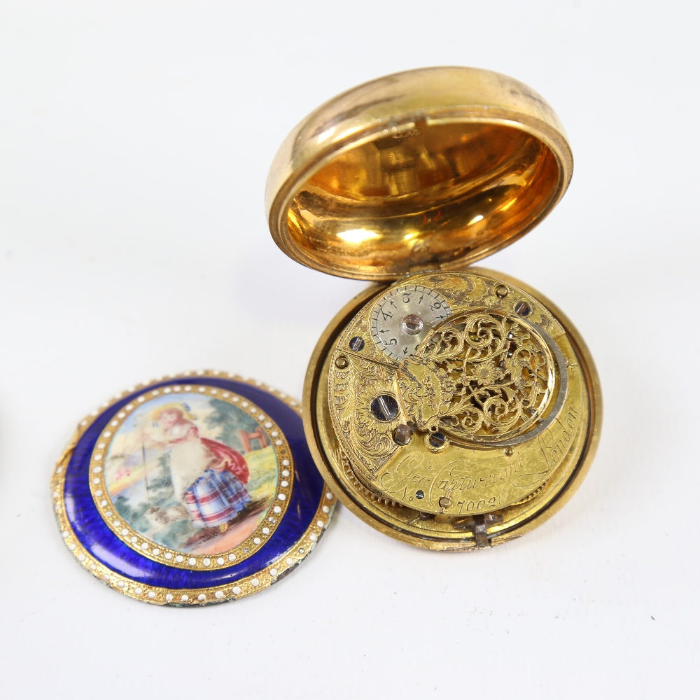 An 18th century gold plated pair-cased open-face keywind Verge pocket watch, by George Cartwright of - Image 4 of 5