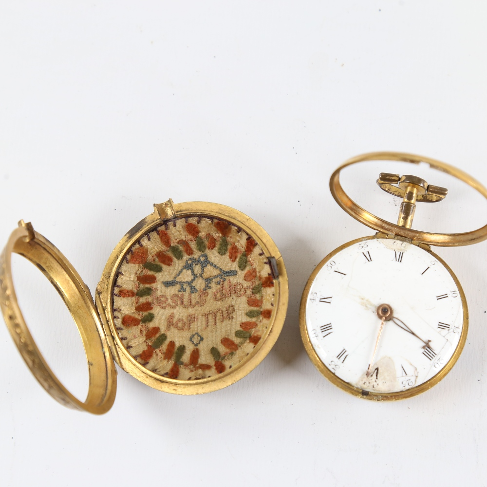 An 18th century gold plated pair-cased open-face keywind Verge pocket watch, by George Cartwright of - Image 3 of 5