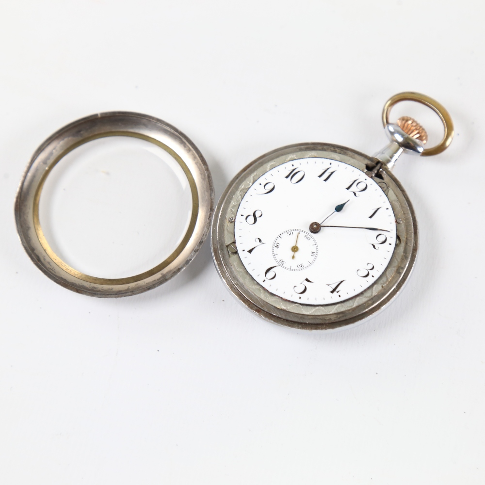 An Art Deco chrome plated novelty erotic open-face top-wind pocket watch, by Brevet, white enamel - Image 3 of 5