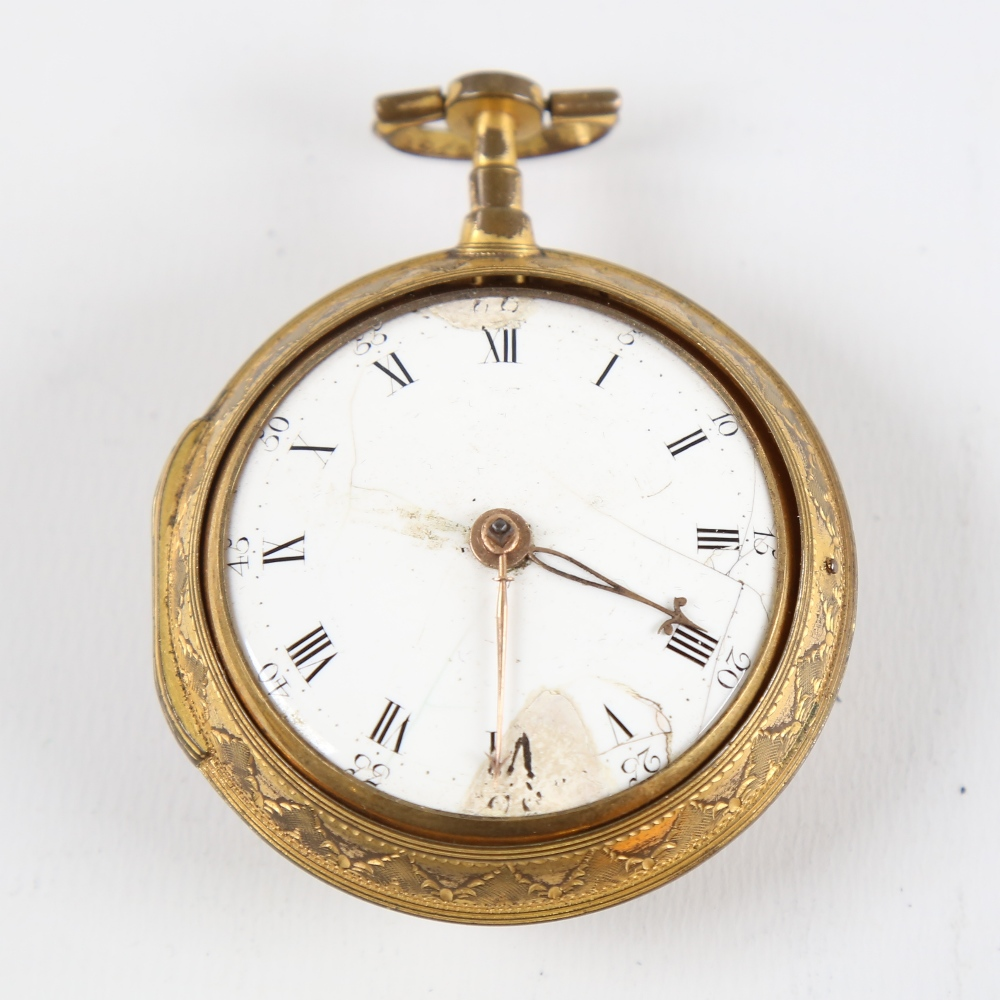An 18th century gold plated pair-cased open-face keywind Verge pocket watch, by George Cartwright of