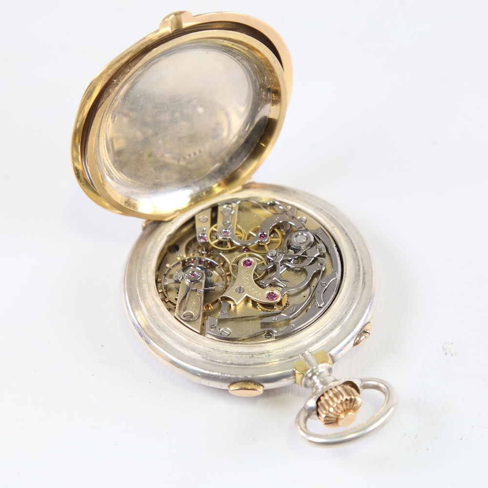 A 19th century Swiss silver and yellow metal open-face top-wind Doctor's chronograph pocket watch, - Image 4 of 5