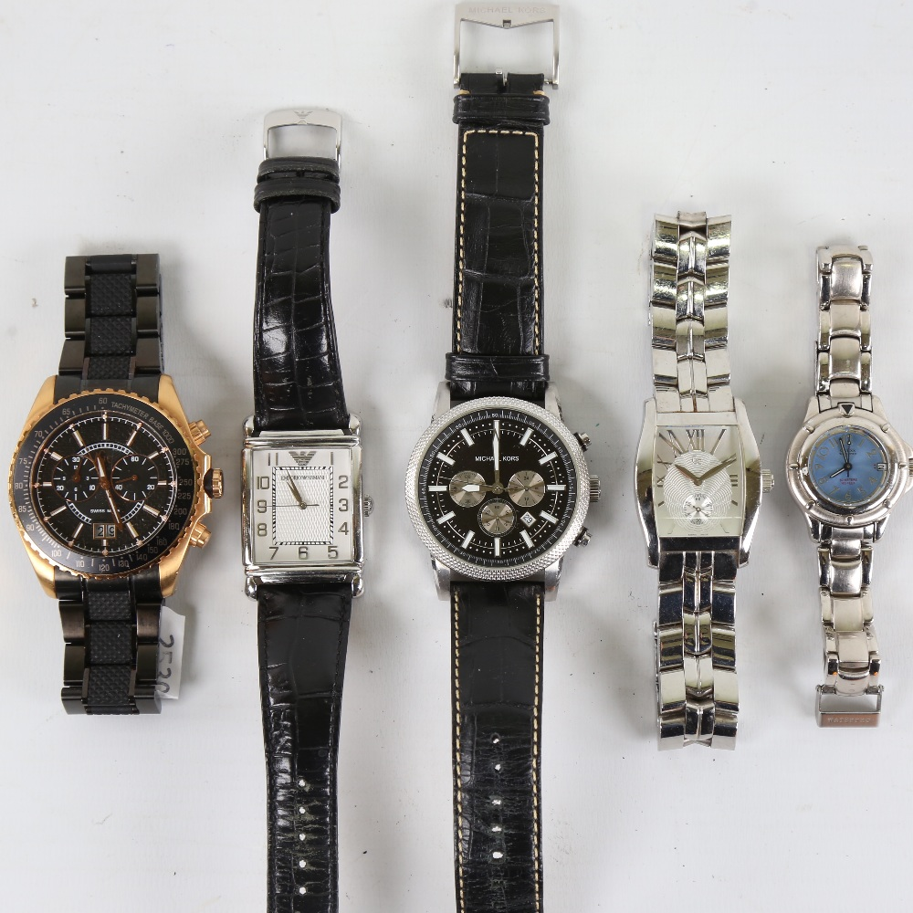 5 modern designer quartz wristwatches, including GC, Michael Kors, Guess and Emporio Armani, only