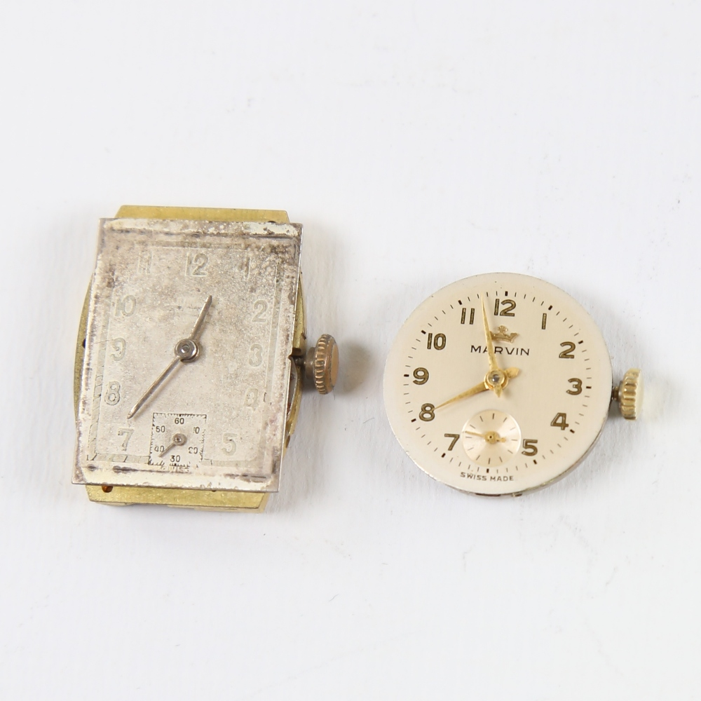 2 Vintage wristwatch movements, including Marvin and Audax, Audax working (2) Marvin in good overall