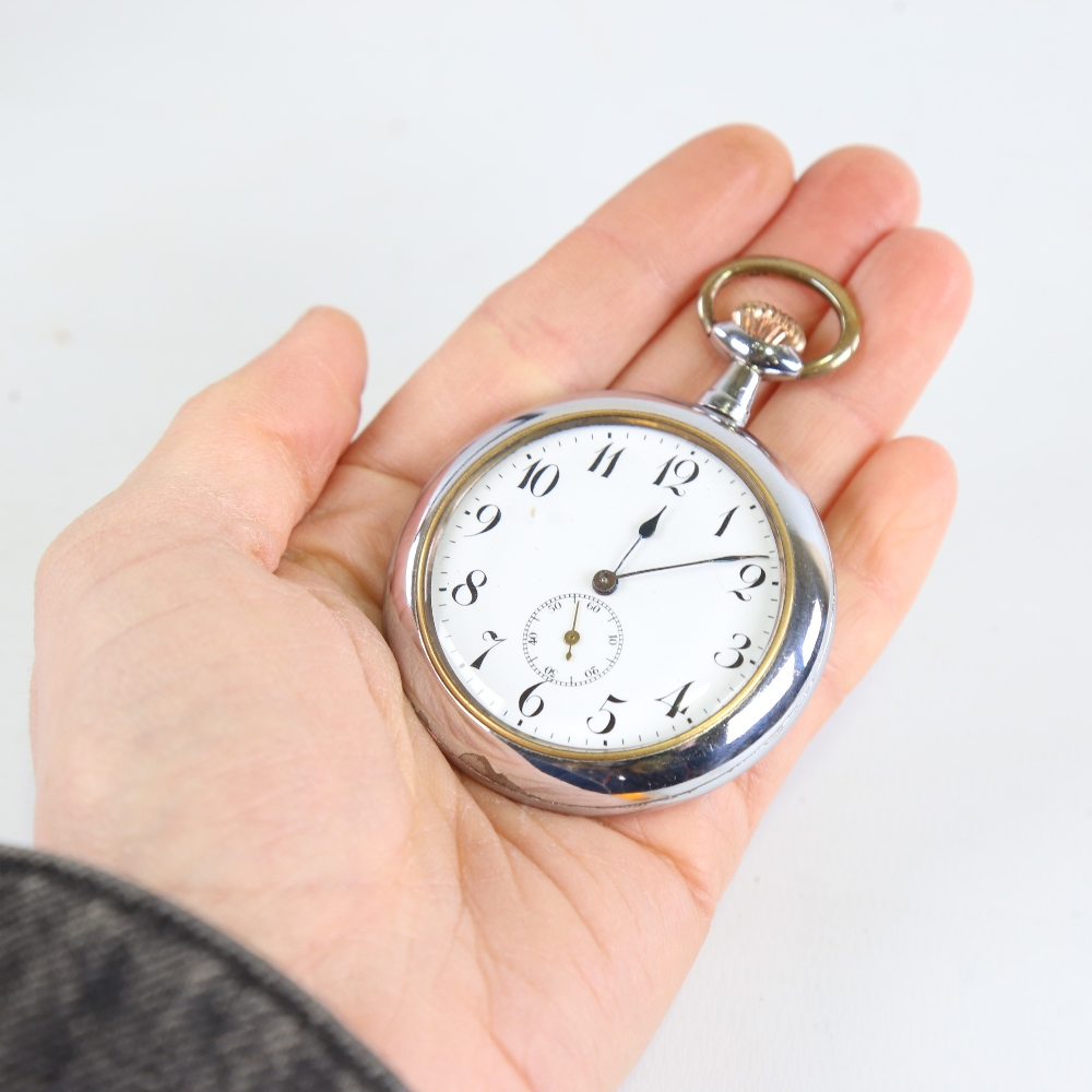 An Art Deco chrome plated novelty erotic open-face top-wind pocket watch, by Brevet, white enamel - Image 5 of 5