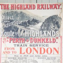 """A large scale early 20th century Highland Railway Transport poster, """"Direct and Picturesque Route"""