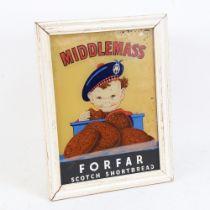 A Vintage Middlemass Forfar Scotch Shortbread illuminating shop window advertising sign, height 31cm